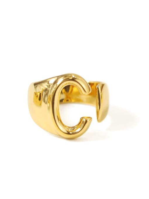 C Brass  26 Letter Vintage Band Ring