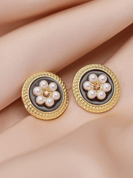 HYACINTH Brass Imitation Pearl Flower Vintage Stud Earring 0