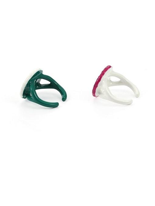 Five Color Zinc Alloy Enamel Flower Minimalist Band Ring 3