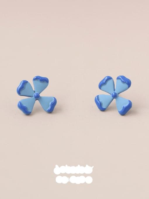 Five Color Alloy Enamel Flower Minimalist Stud Earring 3