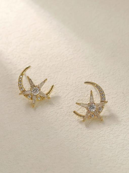 HYACINTH Brass Cubic Zirconia Moon Vintage Stud Trend Korean Fashion Earring