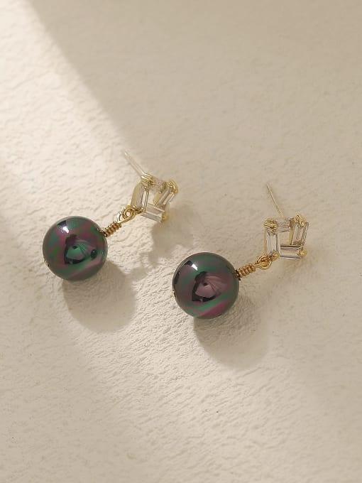 HYACINTH Brass Imitation Pearl Geometric Vintage Drop Trend Korean Fashion Earring