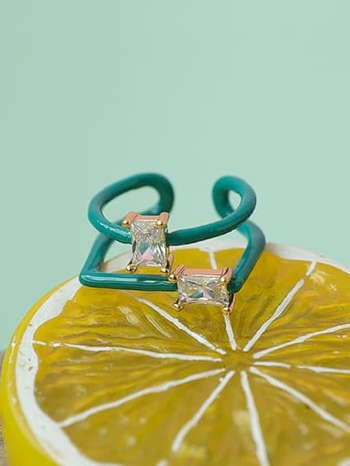 Five Color Zinc Alloy Enamel Geometric Minimalist Stackable Ring 2
