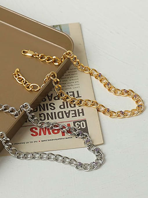 ACCA Brass Hollow Geometric Chain Hip Hop Necklace 4