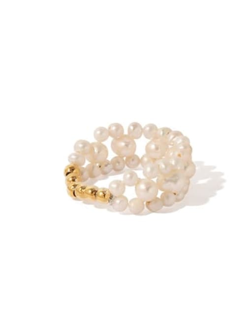 ACCA Brass Freshwater Pearl Round Vintage Band Ring 3