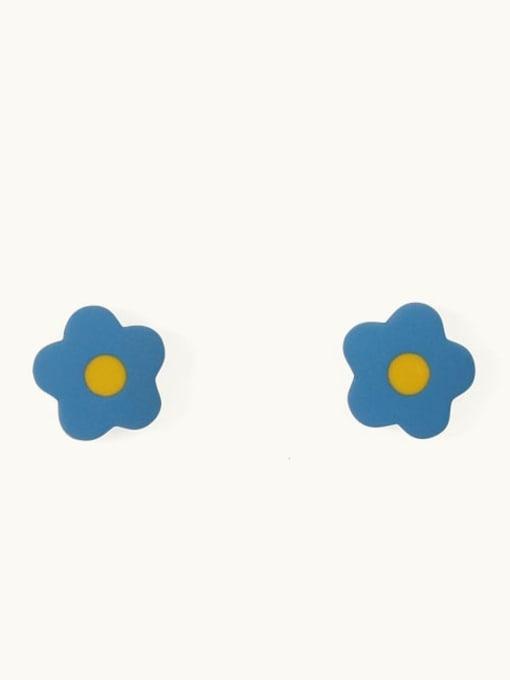 Yellow blue Alloy Enamel Flower Cute Stud Earring