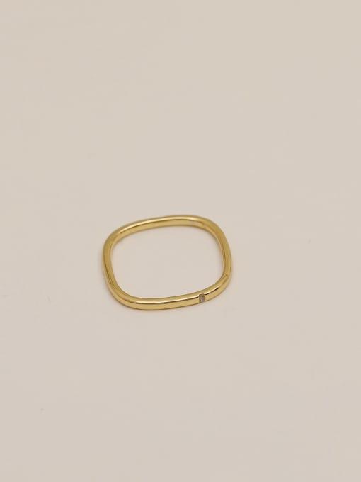 HYACINTH Brass Rhinestone Geometric Minimalist Band Ring 0