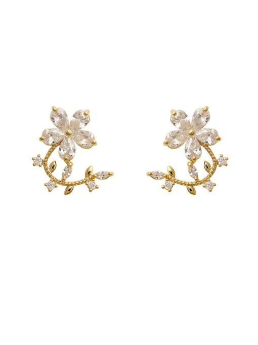 14k Gold Copper Cubic Zirconia Flower Minimalist Stud Earring
