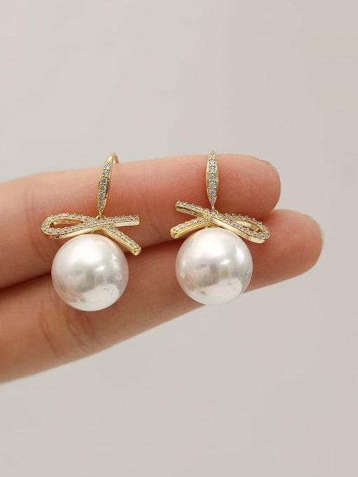 HYACINTH Brass Imitation Pearl Geometric Minimalist Hook Earring