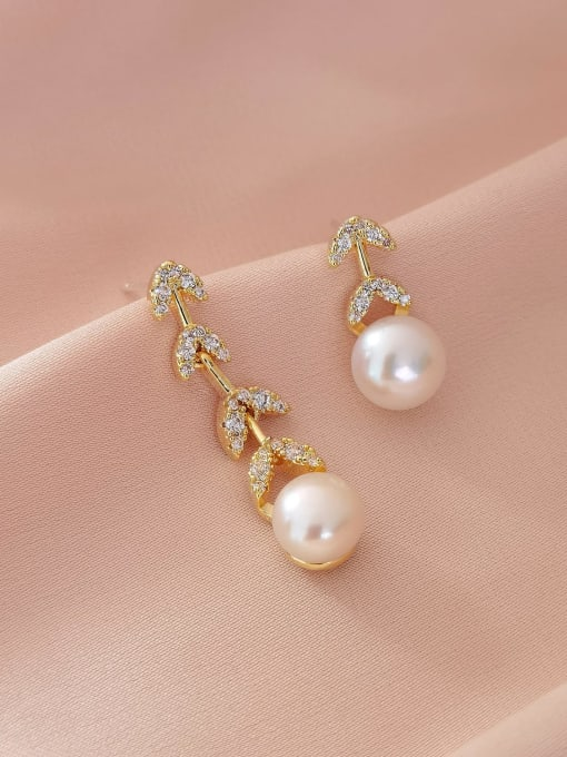 HYACINTH Brass Imitation Pearl  Asymmetry Geometric Minimalist Drop Earring