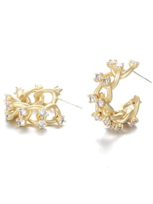 Five Color Brass Cubic Zirconia Geometric Hip Hop Stud Earring 0