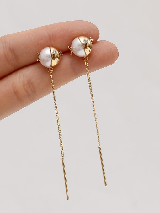 HYACINTH Brass Imitation Pearl Tassel Minimalist Threader Earring
