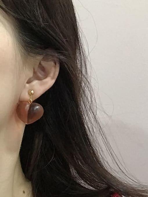 Five Color Alloy Resin Heart Cute Hook Earring 1