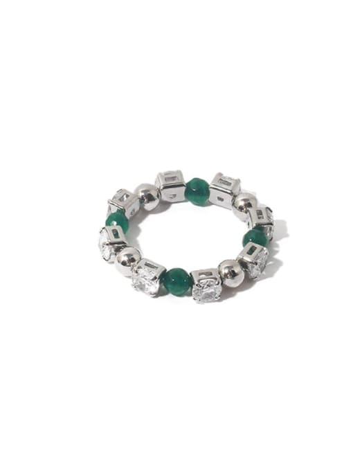 Platinum (adjustable elastic rope) Brass Cubic Zirconia Geometric Vintage Bead Ring