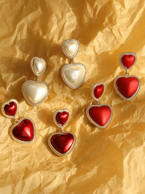 HYACINTH Brass Enamel Heart Ethnic Drop Earring