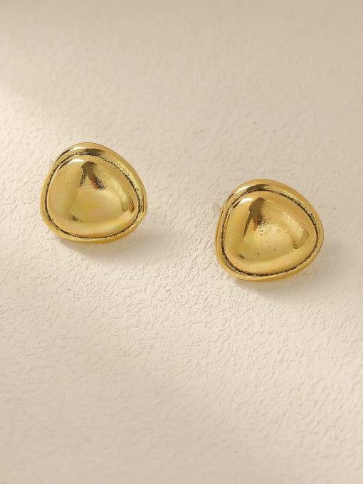 HYACINTH Brass Smooth Triangle Minimalist Stud Trend Korean Fashion Earring 0