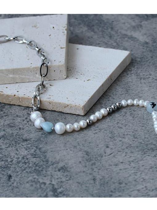 Five Color Brass Imitation Pearl Locket Vintage Asymmetric pearl geometric chain Necklace 2