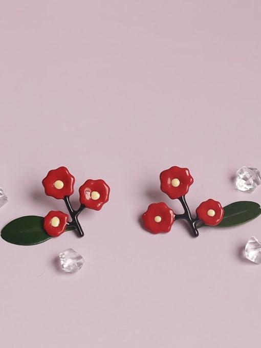 Five Color Alloy Enamel Flower Cute Single Earring 2