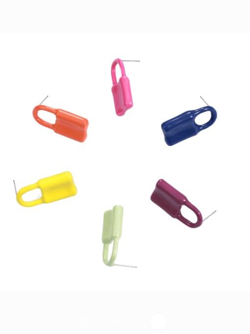 Five Color Brass Multi Color Enamel Locket Minimalist Huggie Earring 0
