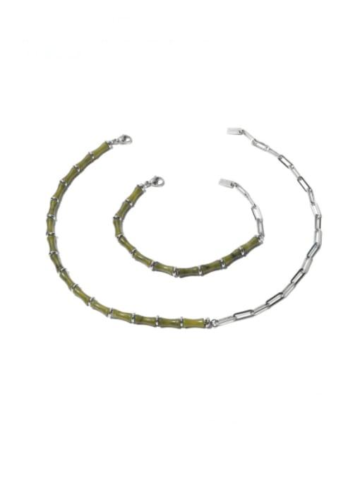 TINGS Brass Enamel Geometric Vintage Necklace