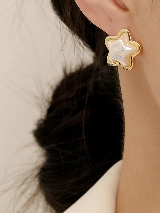 HYACINTH Brass Imitation Pearl Star Minimalist Stud Earring 1