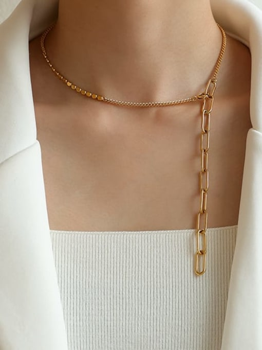 Five Color Brass Geometric Hip Hop Necklace 1