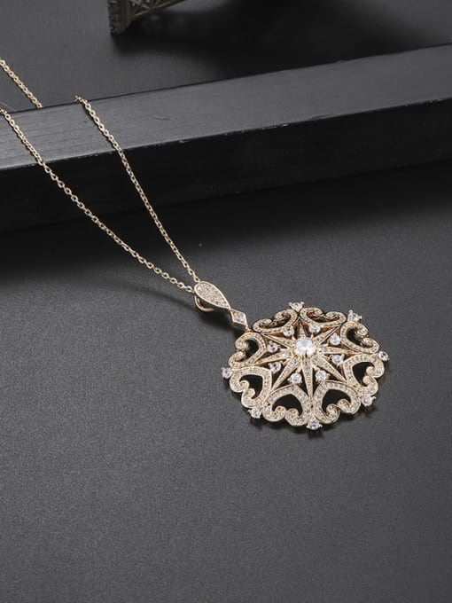 YILLIN Brass Cubic Zirconia Flower Dainty Necklace 1