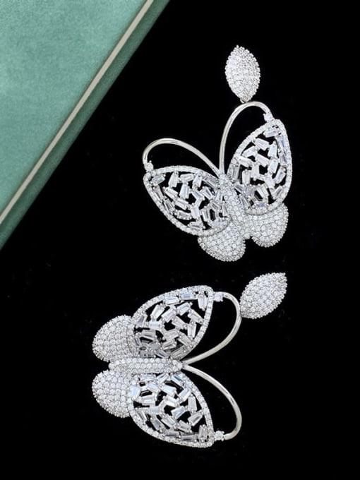 SUUTO Brass Cubic Zirconia Butterfly Vintage Stud Earring 2