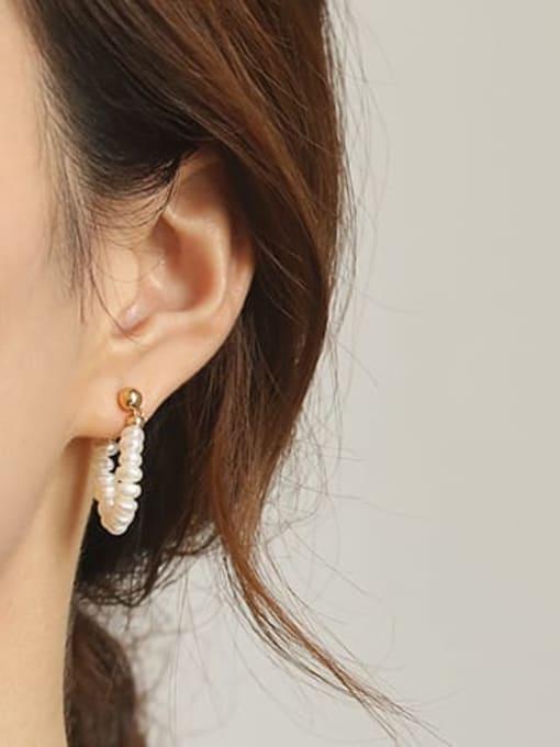 ACCA Brass Freshwater Pearl Geometric Vintage Chandelier Earring 1