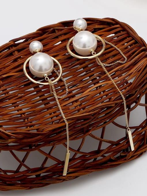 HYACINTH Brass Imitation Pearl Geometric Minimalist Threader Earring 2