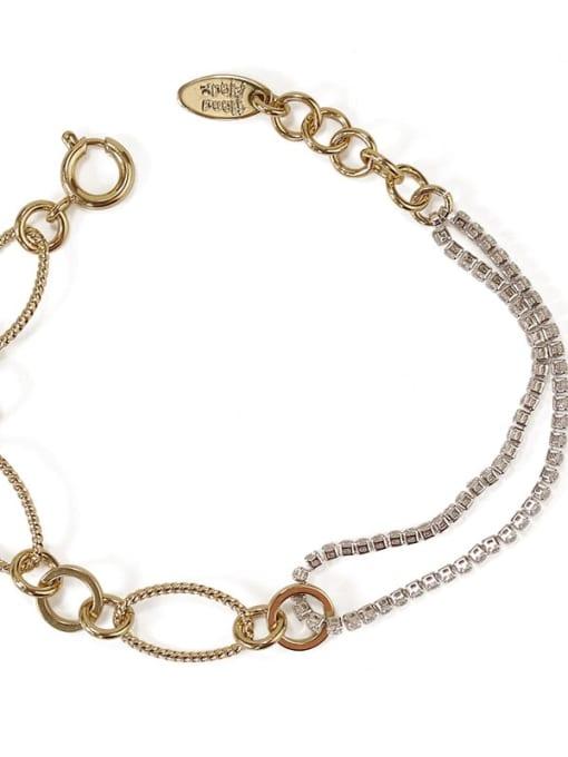 ACCA Brass Cubic Zirconia  Vintage Asymmetric hollow chain Link Bracelet 3