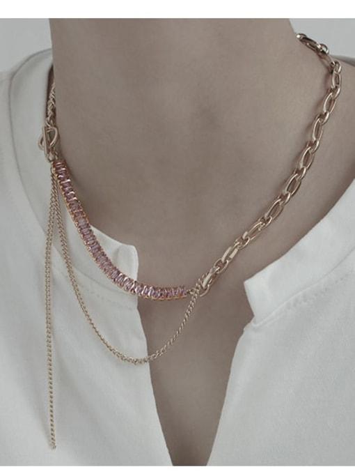 TINGS Brass Geometric Vintage Multi Strand Necklace 1