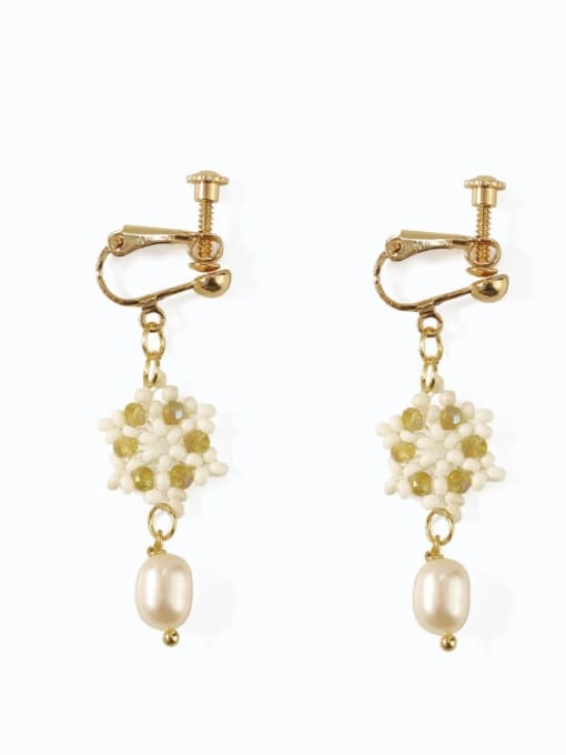 Five Color Alloy Imitation Pearl  Flower Cute Hook Earring 2