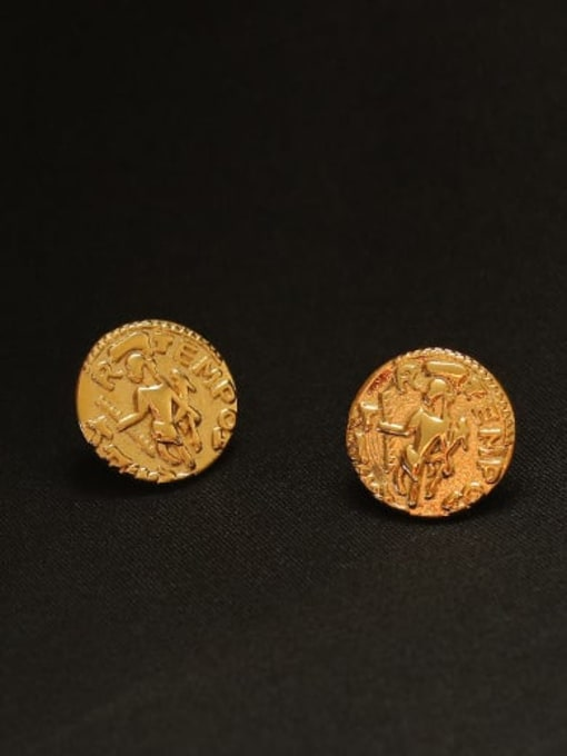 ACCA Brass Round Vintage Stud Earring 2