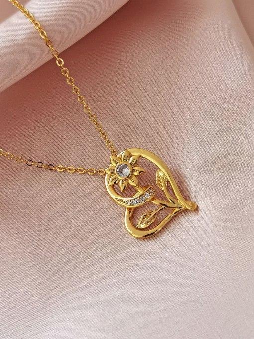 HYACINTH Brass Rhinestone Heart Vintage Necklace 3