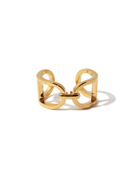 TINGS Brass Hollow Geometric Vintage Band Ring 3