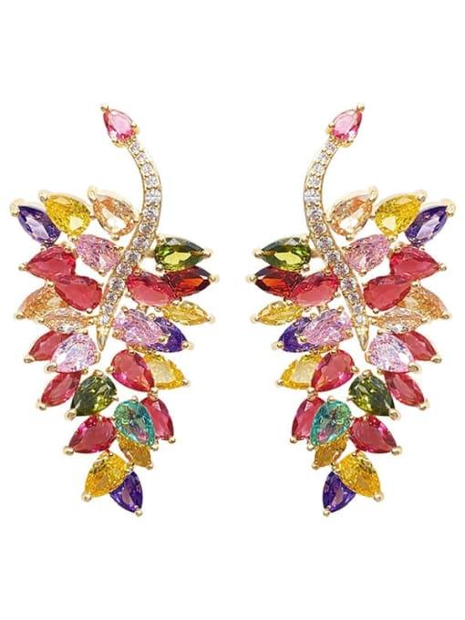 Colored diamond leaves Brass Cubic Zirconia Leaf Luxury Chandelier Earring