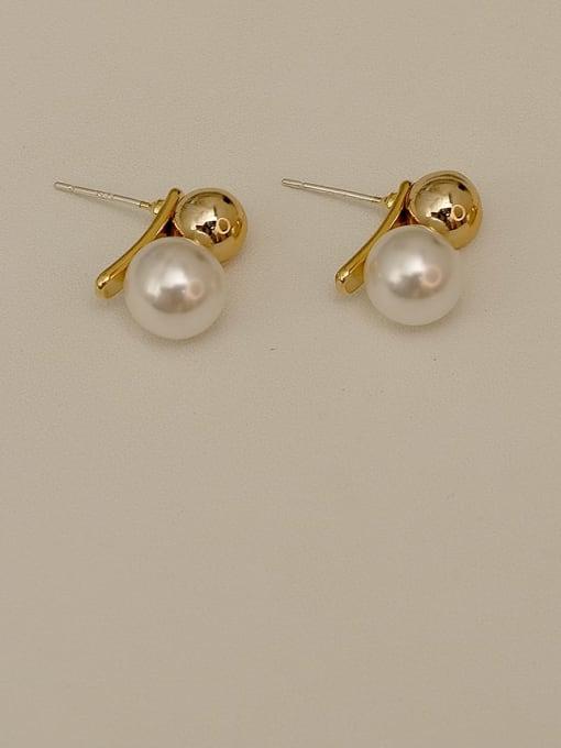 HYACINTH Copper Imitation Pearl Ball Minimalist Stud Earring 3