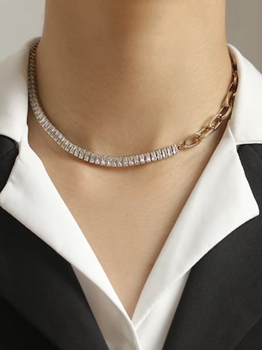 ACCA Brass Cubic Zirconia Geometric chain Vintage Necklace 1