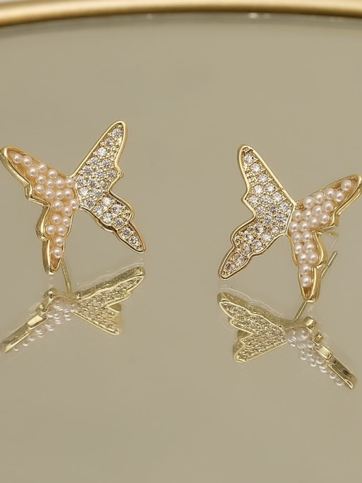 HYACINTH Copper Imitation Pearl Butterfly Vintage Stud Earring 2