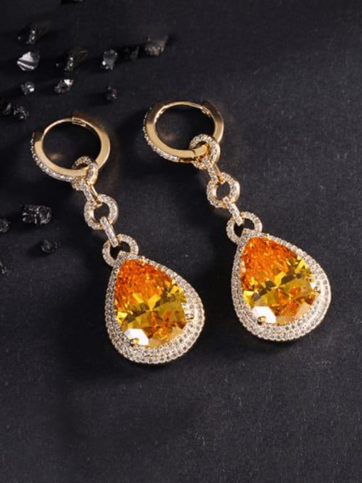 yellow Brass Cubic Zirconia Water Drop Vintage Drop Earring