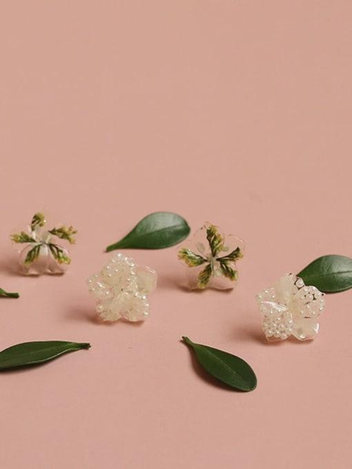 Five Color Alloy Enamel Flower Cute Stud Earring 4