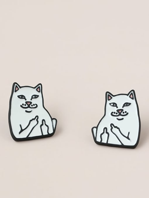 Five Color Alloy Enamel Cat Cute Stud Earring