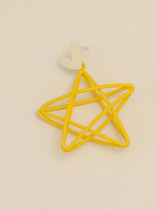 Yellow ear needle Copper Enamel Star Minimalist Stud Earring