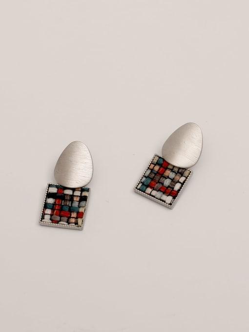 steel Red Brass Geometric Vintage Drop Earring