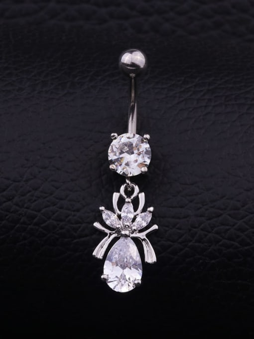 Section F  (Single) Titanium Steel Cubic Zirconia Flower Hip Hop Belly Rings & Belly Bars