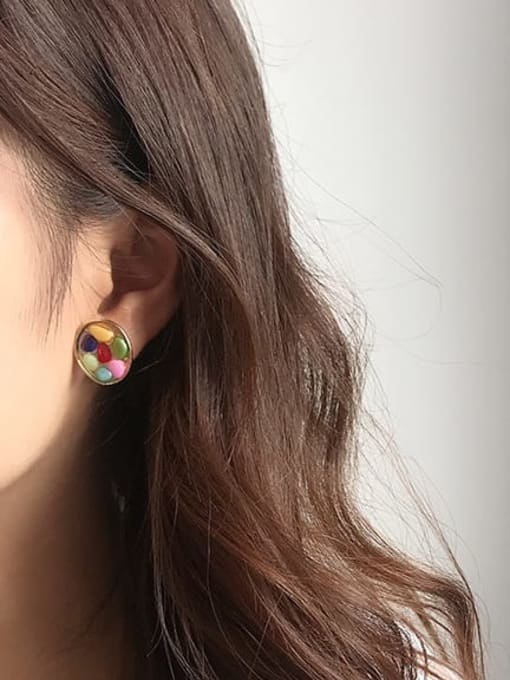 Five Color Alloy Glass Stone Round Hip Hop Stud Earring 1