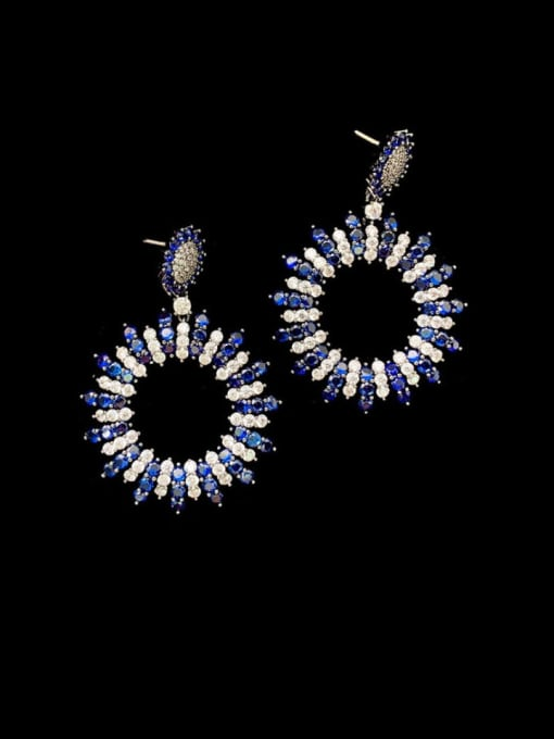 SUUTO Brass Cubic Zirconia Geometric Vintage Drop Earring 2