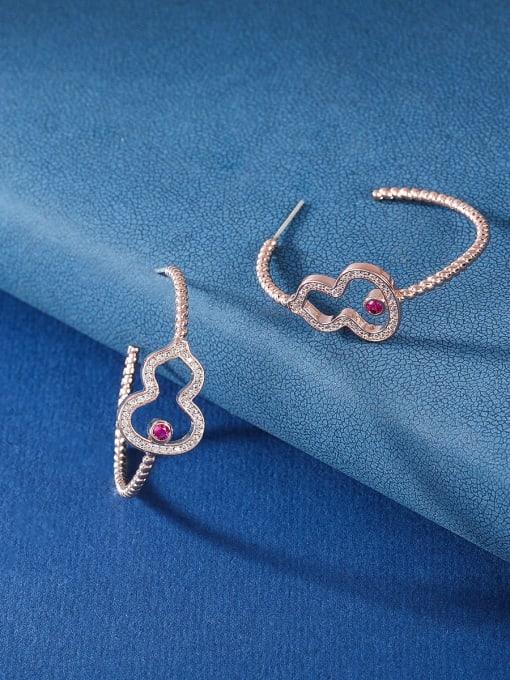 OUOU Brass Cubic Zirconia Heart Statement Huggie Earring 2
