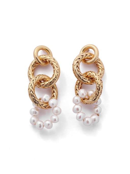 ACCA Brass Imitation Pearl Geometric Hip Hop Drop Earring 3